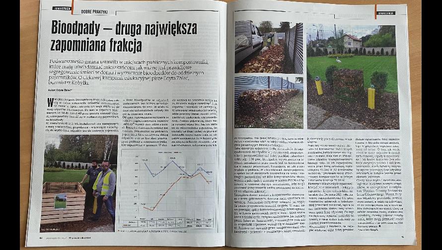Dwie strony z gazety z kolorowymi zdjęciami kompostowników miejskich