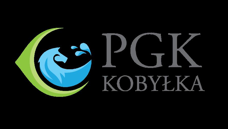 Logo Przedsiębiorstwa Gospodarki Komunalnej w Kobyłce. Krople wody układające się w głowę konia i szare litery PGK Kobyłka.