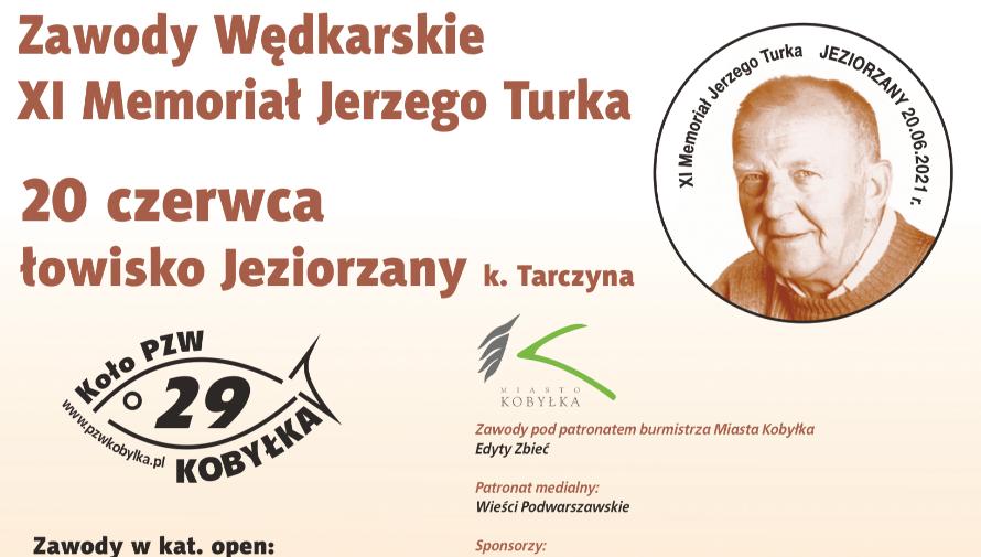plakat XI Memoriał Jerzego Turka, informacje o wydarzeniu, zawody wędkarskie