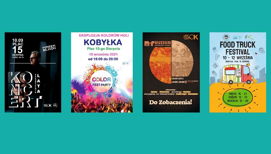 Plakaty wydarzeń miejskich w dniach 10 - 12 września 2021 roku